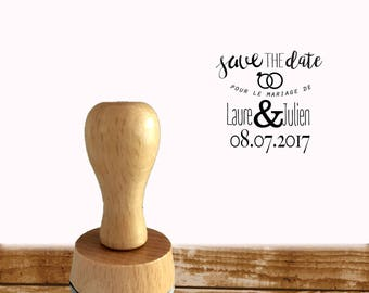 Rubber stamp wedding Save the date customizable name and date