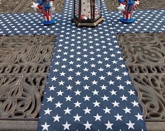 Patriotic Table Runner | 4th of July Table Runner | White Blue Star | Memorial Day Table Runner | Star Table Runner