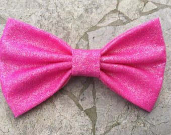 Glittery pink hair bow/ bow tie