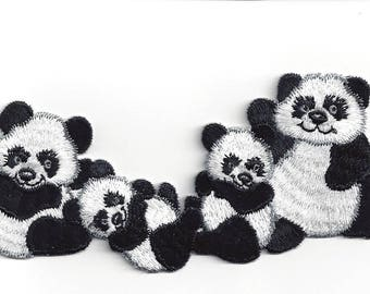 Panda Family Iron On Embroidered Applique patch