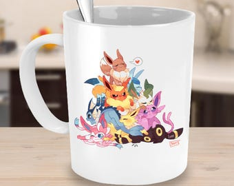POKEMON EEVEE EVOLUTIONS Mug! Eevee Leafeon Espeon Jolteon Glaceon Vaporeon Umbreon Sylveon Flareon Pokemon Fan Coffee Lover Gift Cup