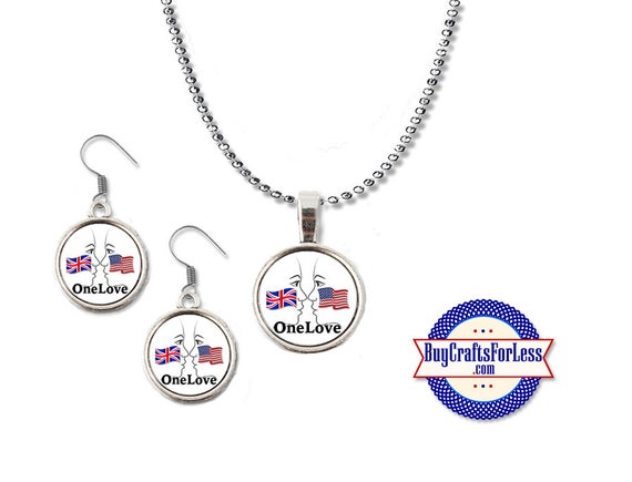 USA - UK Pendant and Earrings- Face to Face - One Love - London - Manchester + Discounts & FREE Shipping**