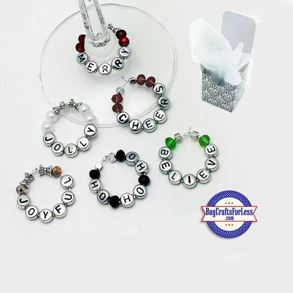 CHRISTMAS WINE or Bottle Charms, Napkin Rings, Free Gift Box, Set of 6 +FREE SHiPPiNG & Discounts*
