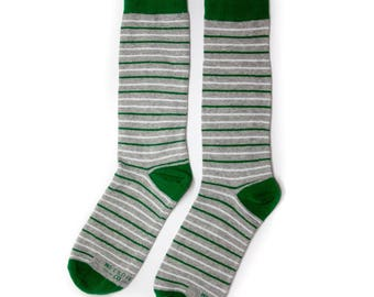 Groomsmen Green and Grey Striped Socks/Wedding Day Socks/Groomsmen Gifts/Groomsmen Proposal Idea/Colorful Dress Socks