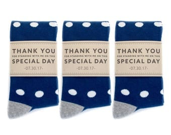 Groomsmen Navy, White and Grey Polka Dot Socks 3-Pack with Custom Labels/Wedding Day Socks/Groomsmen Gifts/Groomsmen Proposal Idea