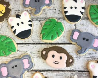 1 Dozen Jungle Safari Animal Cookies