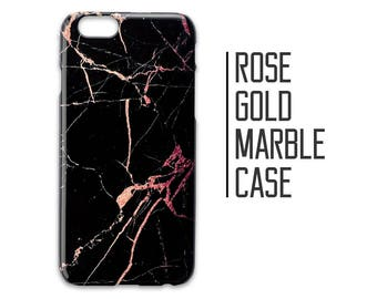 Rose Gold Marble Phone Case for iPhone 7 Plus 6 6s 5 5s 5c + Black and Rose Gold