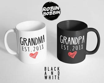 Grandparents Mugs - Black and White - Pregnancy Announcement Grandparents, Baby Announcement Grandparents Mug, Grandpa and Grandma Mugs