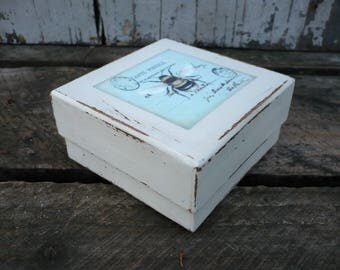 Decoupaged gift box with bee-gift wrap-keepsake box-trinket box