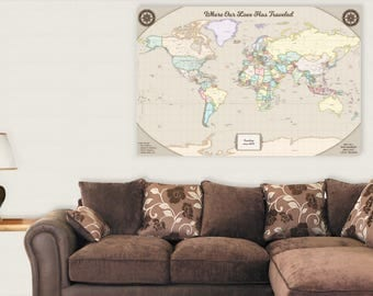 Rustic world map push pin map on canvas world travel map large 26th anniversary gift for men 26 year for women present idea him her gift wife husband gumiabroncs Gallery