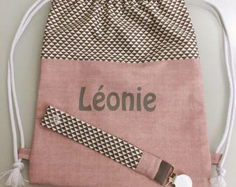 Pack personalized back + pacifier bag