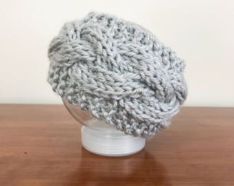 Baby Gray Braided Knit Headband - Knit Kids Earwarmer - Girls Headband - Cabled Headband - Chunky Cable Headband - Grey Knit Headband -