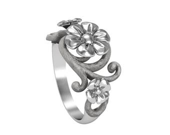 Silver flover ring