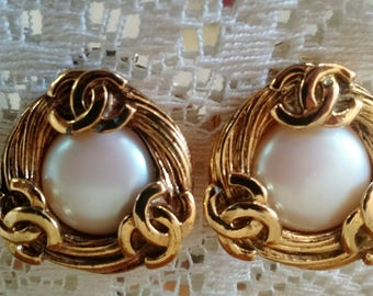 Signed Vintage Chanel earrings, Vintage Couture, signed designer jewelry
