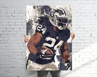 ... Black Team Color NFL Jersey Marshawn Lynch Oakland Raiders - Sports Art  Print Poster - Watercolor Abstract Paint Splash - Kids ... 86683f496