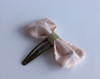 Hair clip bow light pink and glitter gold