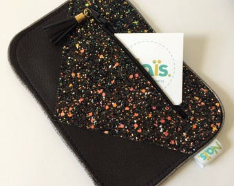Wallet black leather and glitter