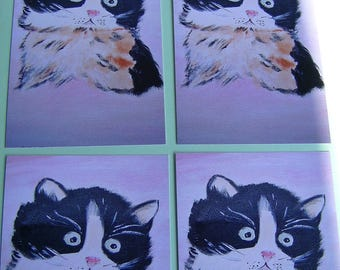 SET OF 4 CARDS WATERCOLOR CAT WITH MATCHING ENVELOPES