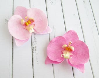 Pink Orchid Hairpin - Flower Hair Accessories - Flowers Hair Pin - Foam handmade flowers hair grips -  hair decoration - Orchid bobby pin
