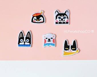 DORKABLE -- Handmade Embroidered Patch Brooches Pins/Fabric Badge/Iron-On Patches/Animal/Penguin/Dog/Polar Bear/Frenchie