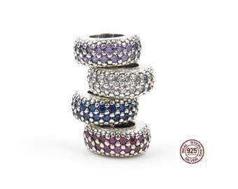 Choose between 6 diferent colors Pave Spacer with Zirconia, 100% 925 Sterling Silver, Fit Pandora Snake Chain Charm Bracelet, DiY Jewelry