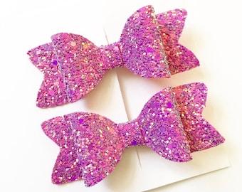 Glitter Hair Bow | Hair Bows | Pig Tail Bows | Pink Hair Bows