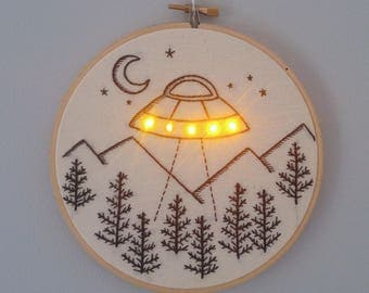 UFO with LEDS hand embroidery hoop art wall hanging