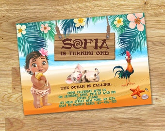 Baby Moana Birthday Party Invitation // DIGITAL FILE Only