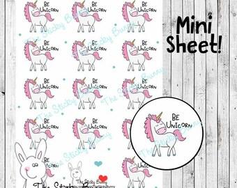 Be Unicorn Mini Sheet - Planner Stickers for Happy Planner, Erin Condren, Filofax, Kikkik (S213MS)