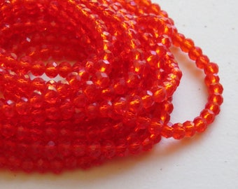 Candy Apple Red faceted rondelles, 3 x 4mm, (100)