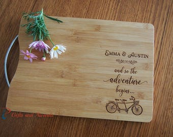FREE DELIVERY-Personalised Engraved Bamboo cutting board S/S handle-Gift for couple/Engagement gift/Wedding gift-and so the adventure begins