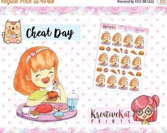 SALE50%OFF Cheat day / Planner Stickers / Hand-drawn / Kawaii / Cartoon / Food / Foodlover / Burger / Pizza / Chibi / Watercolor
