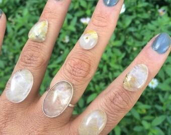 Golden Rutilated Quartz Ring / Custom Rutilated Quartz / Sterling Silver Ring / Large Rutilated / Gold Rutilated / Golden Rutile Quartz