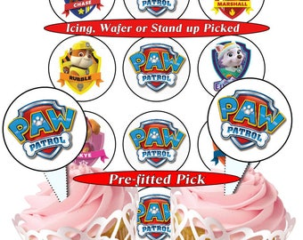Paw Patrol  pre-cut edible cupcake toppers, 2 sizes, 4 choices