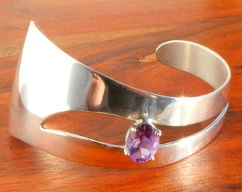 Carol Felley, Sterling Silver and Amethyst Asymmetrical Cuff Bracelet