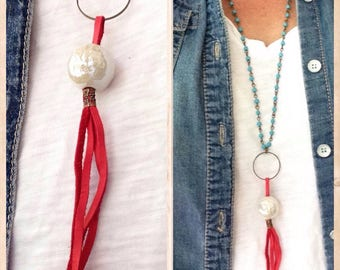 Red & aqua dinner diva leather necklace