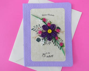 Floral greeting card for 15 | Greeting card for 15 | Floral card | 15 | Violet | Purple | Pink