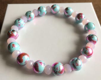 Women's bracelet- blue/pink/silver splatter print beads
