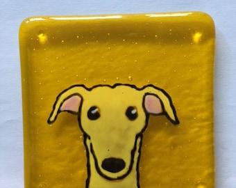 Sandy the Greyhound Fused glass coaster