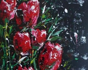 Snow Tulips original art on canvas