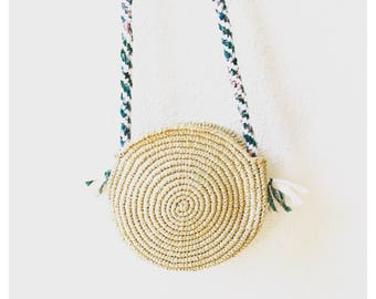 Round raffia with hand braided shoulder strap bag