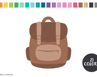 Backpack, Book Bag, Camping, School  - Cute Clipart, Clip Art - Commercial Use, Instant Download