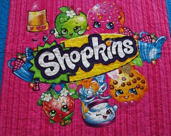 Shopkins quilt, Shopkins blanket, lap quilt, wall hanging, Shopkins bedding, gift for girl