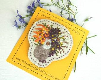 Embroidered Brooch, Floral Brooch, Handmade Brooch, Jewellery, Bijouterie, Fibre Art