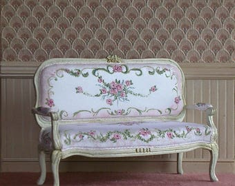 Dollhouse miniature French loveseat