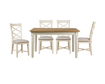 country painted oak extendable dining table u0026 four chairs