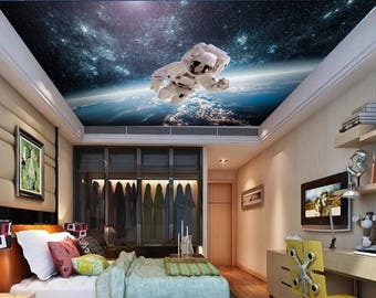 ceiling astronaut wallpaper, astronaut wall mural, space shuttle wallpaper, space shuttle mural, space shuttle wall decal, ceiling universe