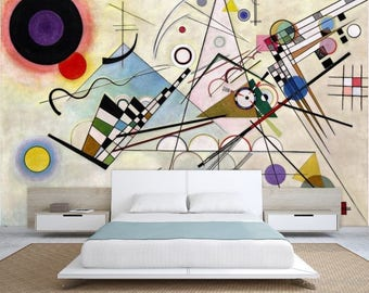 oil painting wallpaper, abstract painting decal, abstract wallpaper, Kandinsky painting, Kandinsky construction wall decal, painting art