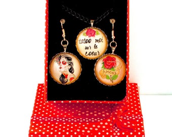 Bad girl box - cabochon earrings and necklace
