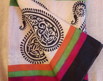 Handwoven Kosa with pashmina silk saree with goemetrical patterns: FREE shipping in USA